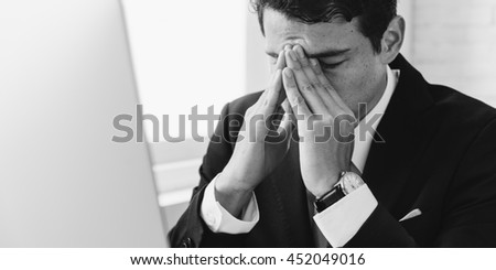 Businessman Stress Hands Gesture Concept - stock photo