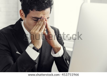 Businessman Stress Hands Gesture Concept