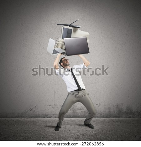Businessman stressed and working tired breaks computers - stock photo