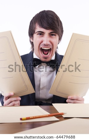 Businessman stressed in his office - stock photo