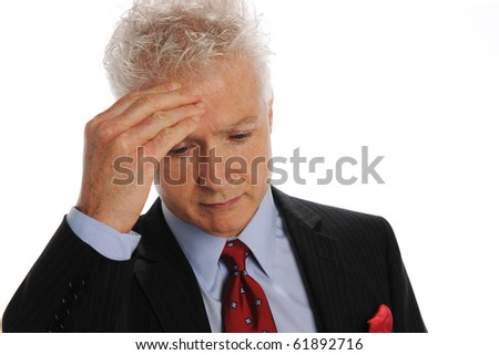 Businessman stressed isolated on a white background - stock photo