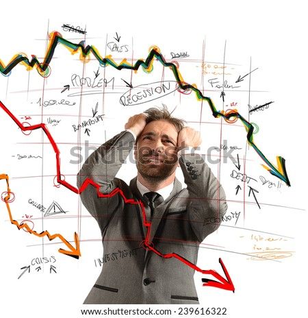 Businessman stressed out by the financial collapse - stock photo