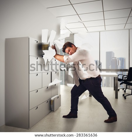 Businessman stressed out from too much work - stock photo