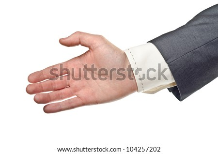 Businessman stretched hand. Isolated on white background - stock photo
