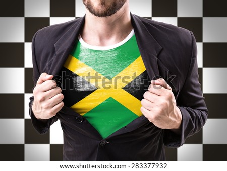 Businessman stretching suit with Jamaica Flag on checkered background - stock photo