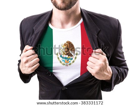Businessman stretching suit with Mexican Flag isolated on white background - stock photo