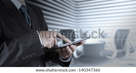 businessman success working with tablet computer his board room background - stock photo