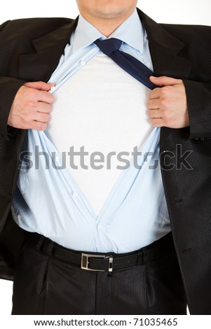 Businessman superman tearing his shirt - add your text isolated on white. Close-up. - stock photo