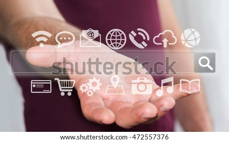Businessman surfing on internet with digital tactile web address interface 3D rendering