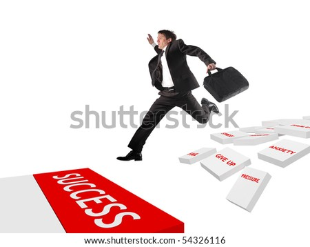 Businessman take a risk to follow the way of success - stock photo