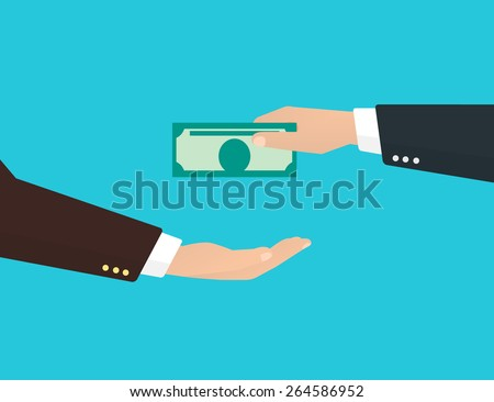Businessman takes a banknote from another businessman. - stock photo
