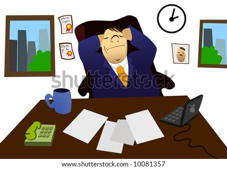 Businessman taking a nap in his office - stock photo