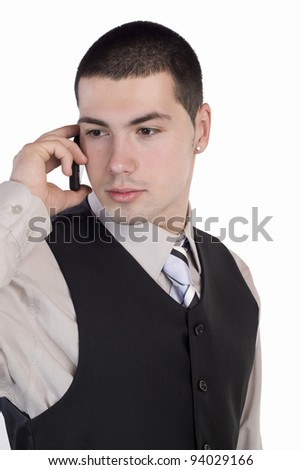 Businessman talking at cellphone, isolated over a white background - stock photo