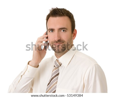 businessman talking on cell phone on white background