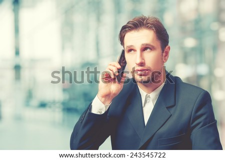 businessman talking on the mobile  phone - stock photo