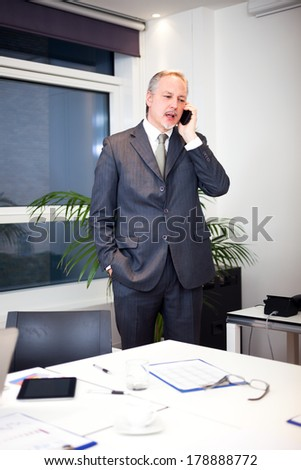 Businessman talking on the phone in his office