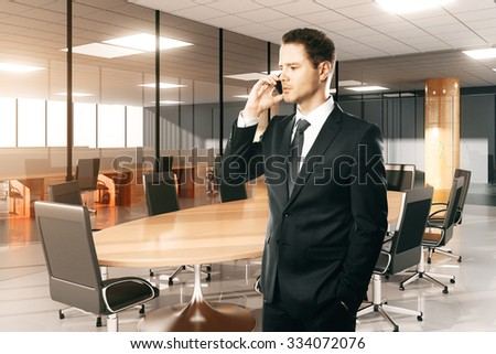 Businessman talking on the phone in modern conference room, instagram photo effect 3D Render - stock photo