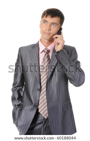 Businessman talking on the phone. Isolated on white background