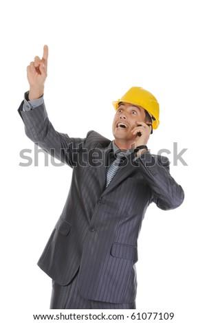 Businessman talking on the phone. Isolated on white background - stock photo