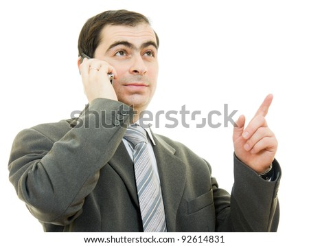 Businessman talking on the phone on a white background.