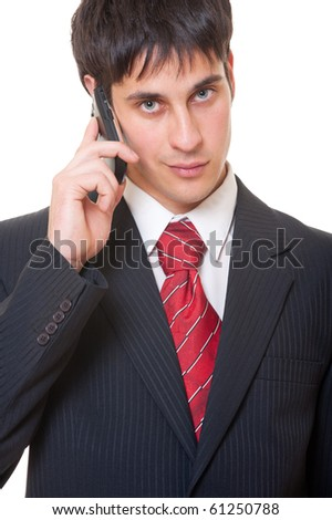 businessman talking on the phone over white background - stock photo