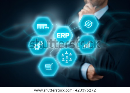 Businessman think about ERP business management software for collect, store, manage and interpret business data like customers, HR, production, logistics, financials and marketing. - stock photo