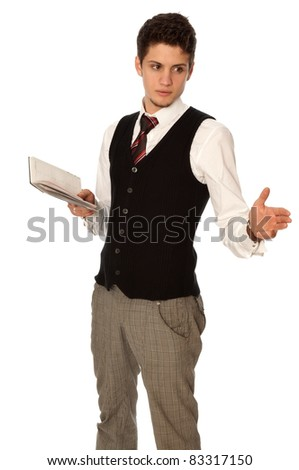 businessman thinking about a daily plan of action in his notebook - stock photo