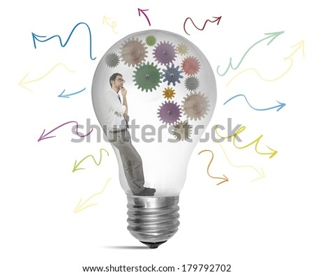 Businessman thinking about a new creative idea - stock photo