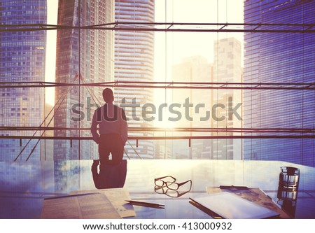 Businessman Thinking Aspirations Goals Contemplating Concept - stock photo