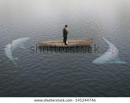 businessman thinking  boat with sharks around him - stock photo