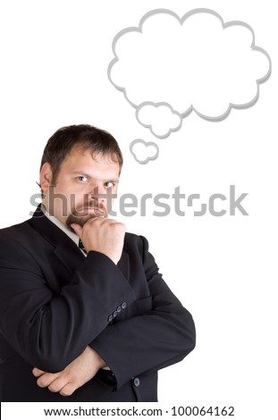 Businessman thinking, isolated on white background. Blank balloon at the top of the photo for your text - stock photo
