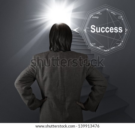 businessman thinking of the stairway to success as business concept - stock photo