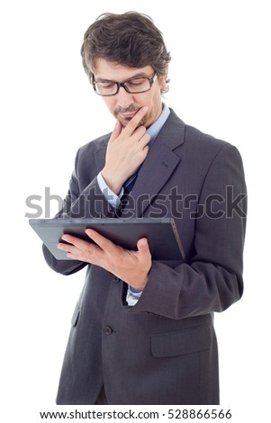 businessman thinking with a tablet pc, isolated