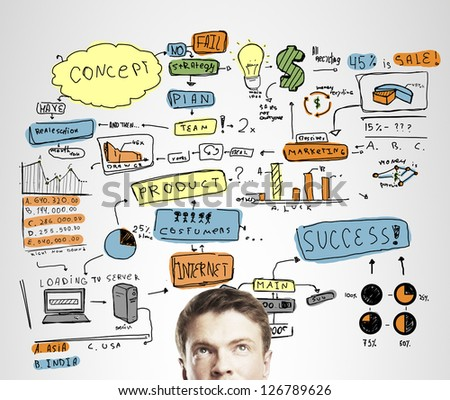 businessman thinking with drawing business concept - stock photo