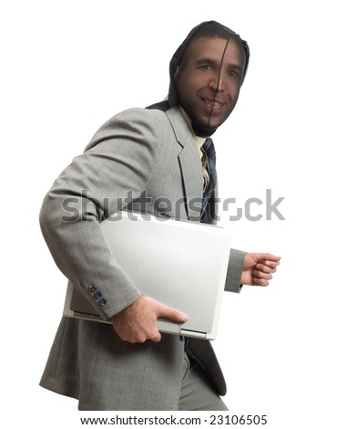 Businessman thinks he got away with stealing company information on a laptop - stock photo