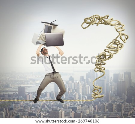 Businessman threatens the job for many problems - stock photo