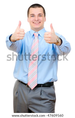 Businessman thumbs up isolated on white background