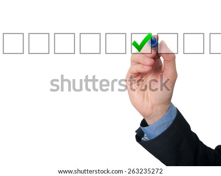 Businessman ticks off in in a square. Task list concept. Isolated on white background.