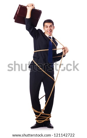 Businessman tied up with rope on white - stock photo