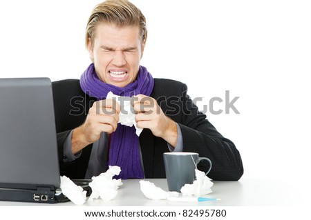 businessman tissue flu - stock photo