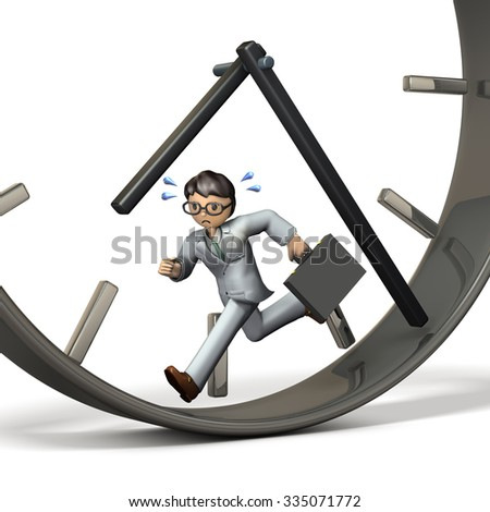 Businessman to be pressed for time. isolated, computer generated image  - stock photo