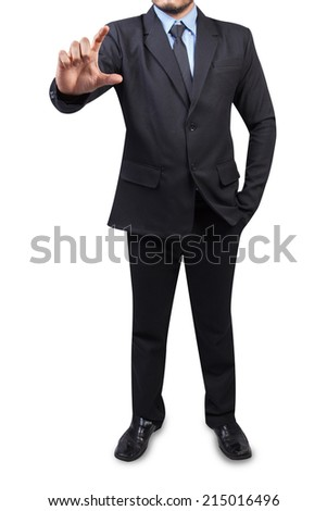 businessman to hold business card ,credit card,blank paper or other isolated on white background with clipping path  - stock photo