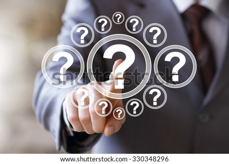 Businessman touch button question interface sign web - stock photo