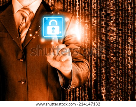 Businessman touch lock on world map  background - stock photo