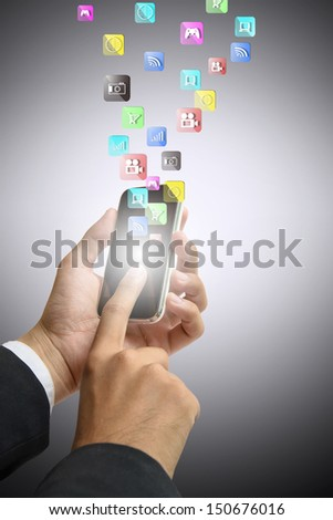 businessman touch phone has  application in air