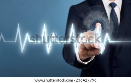 Businessman Touch Screen Concept Set - stock photo