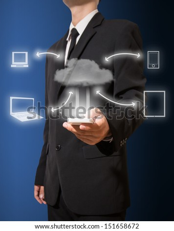 Businessman touch smartphone connect to cloud computing - stock photo