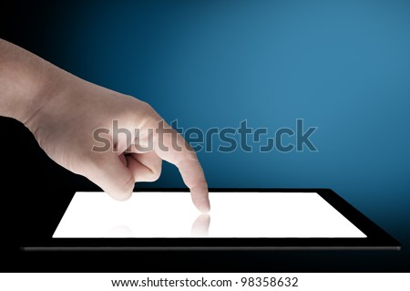 Businessman touch tablet PC screen - stock photo