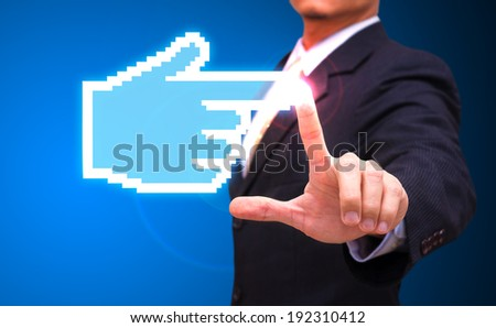 Businessman touch the hand - stock photo
