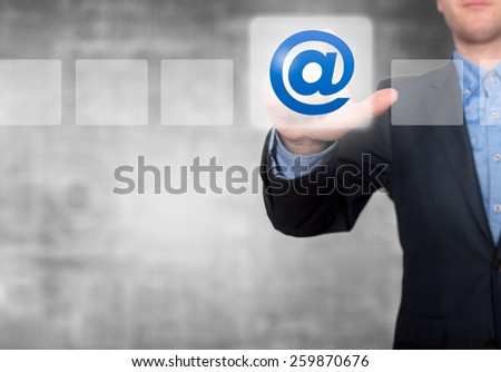 Businessman Touching Email Button and Ticking Check Box. Grey - Stock Photo - stock photo